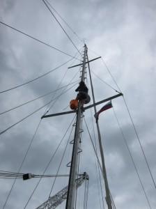 The monkey shins up the mast